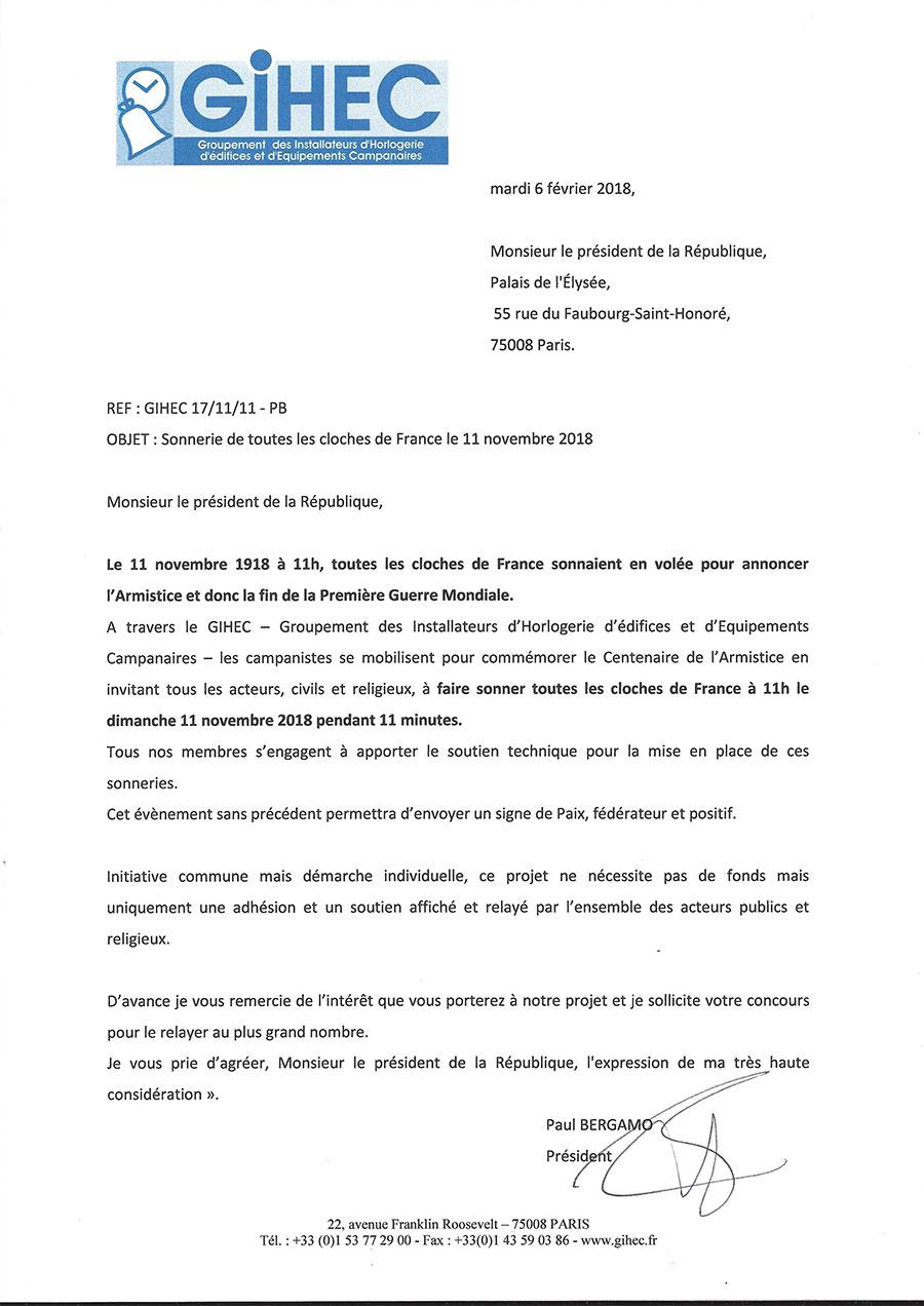 courrier au Président de la République, Mr. Emmanuel Macron