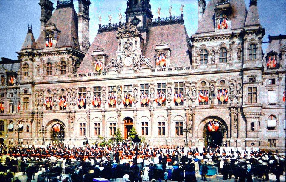 Paris - Hotel de ville -  Fête-de-la-victoire-novembre-1918-Albert-Khan