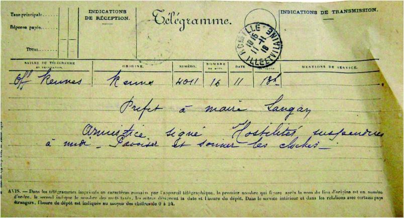 Telegramme-du-prefet-annonçant-l'armistice