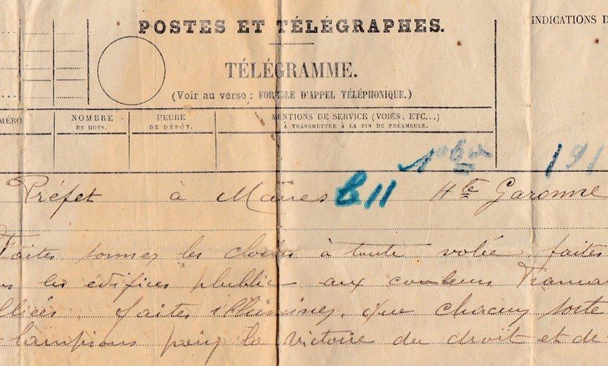 telegrame de l'armistice