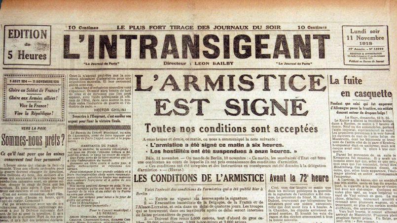 Annonce de l'Armistice, dans le journal L'intransigeant
