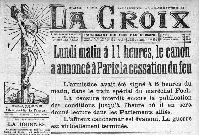 Annonce de l'Armistice, dans le journal La croix