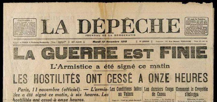 Annonce de l'Armistice, dans le journal La Dépêche