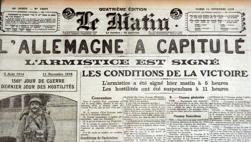 Annonce de l'Armistice, dans le journal Le Matin