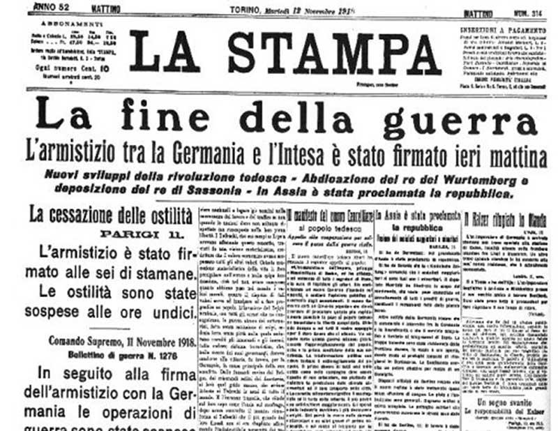 Annonce de l'Armistice, dans le journal La Stampa